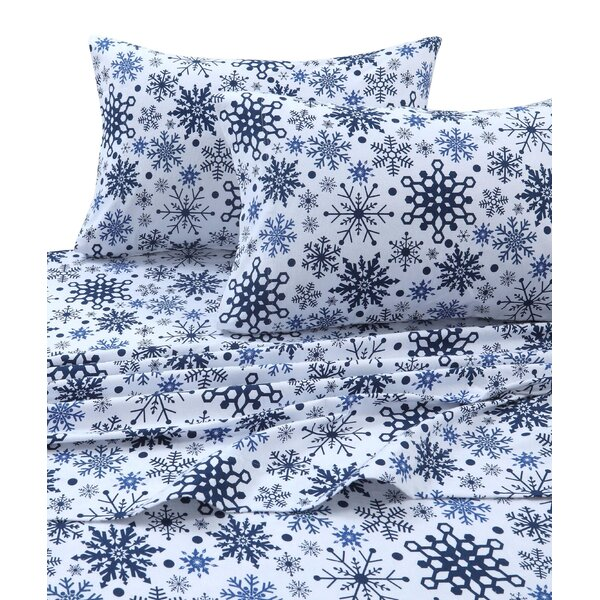 Snowflakes 170-GSM Printed Flannel Extra Deep Pocket 100% Cotton Sheet Set by The Holiday Aisle
